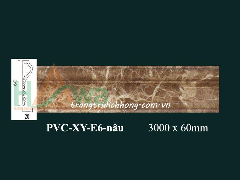 phào-chỉ-nhựa-pvcxy-e6-van-da-nau